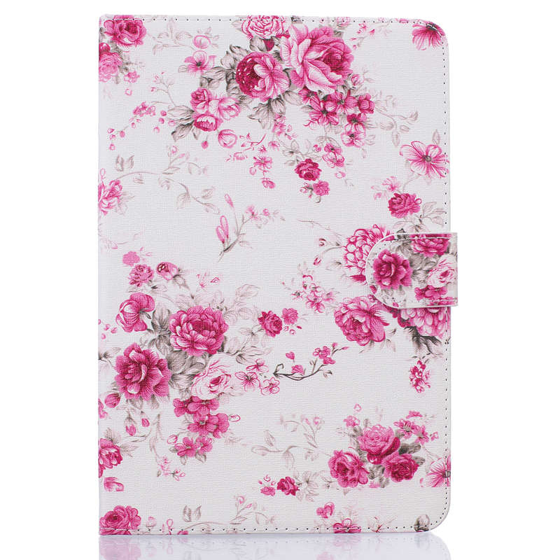 3D Flower Printing PU Leather Case For Samsung Galaxy Tab A 8.0 SM-T350 T355 P350 P355 8.0 Inch Tablet Protective Case+Film+Pen