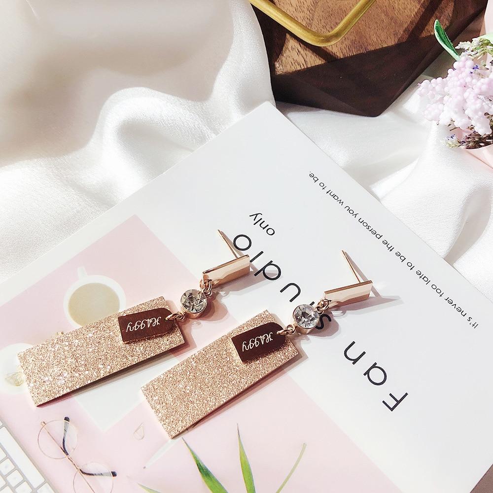 letters pendant titanium steel earrings zircon geometric Jewelry women vintage drop rectangle earrings in Drop Earrings from Jewelry Accessories