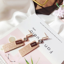 letters pendant titanium steel earrings zircon geometric  Jewelry women vintage drop rectangle earrings rectangle fake gem drop earrings