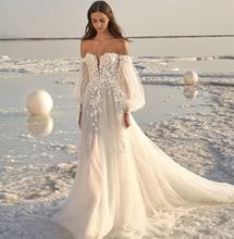 Wedding Dress 2021 Off Shoulder Beach Simple Long Sleeve Custom Made  Floor Length White Organza Tulle Bridal Gowns Sweep Train