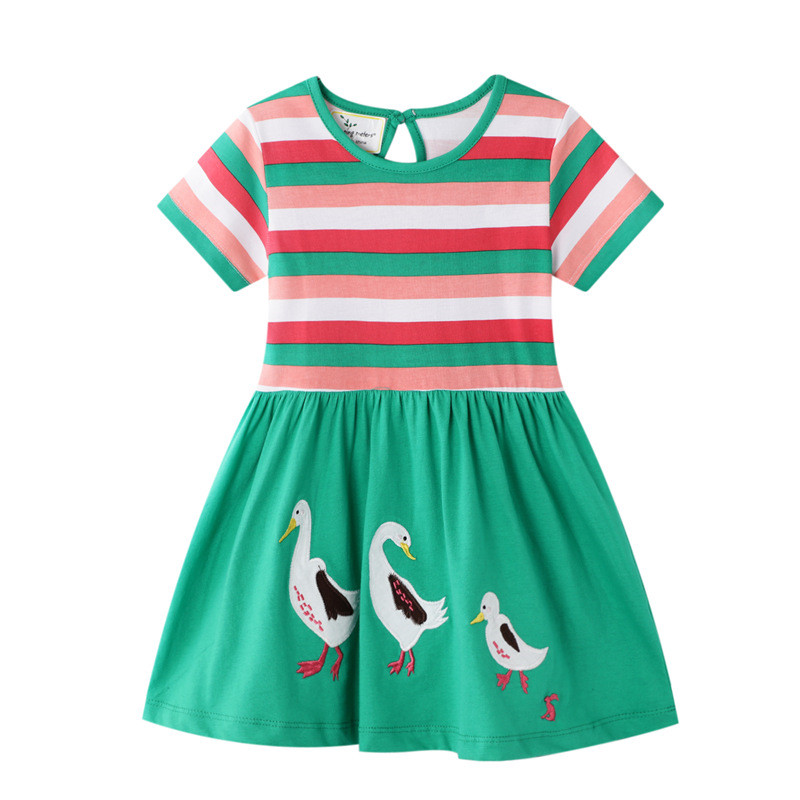 Jumping Meters New Animals Applique Princess Cute Girls Dresses Cotton Baby Girls Clothing Party School Kids Summer Stripe Dress