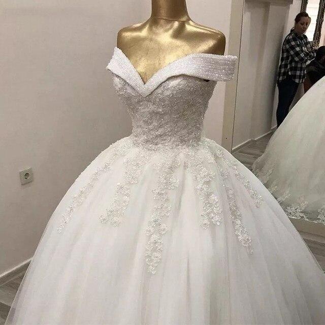 Luxury Crystal Beads Princess Wedding Dresses Lace Applique V Neck Off Shoulder Bridal Gowns With Lace Up Back vestido de noiva 3