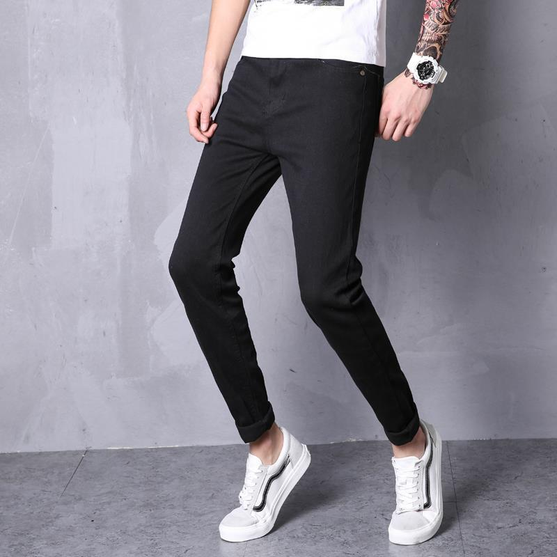 Korean-style New Style 2019 Summer MEN'S Jeans Wash And Wear Treatment Solid Color Cotton Capri Pants Youth Popularity Casual Pa