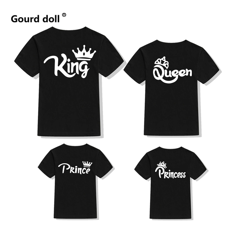 Family matching clothes Cotton T-shirt family look King Queen Princess Prince Father Mother Daughter Son Clothes baby girl Tops