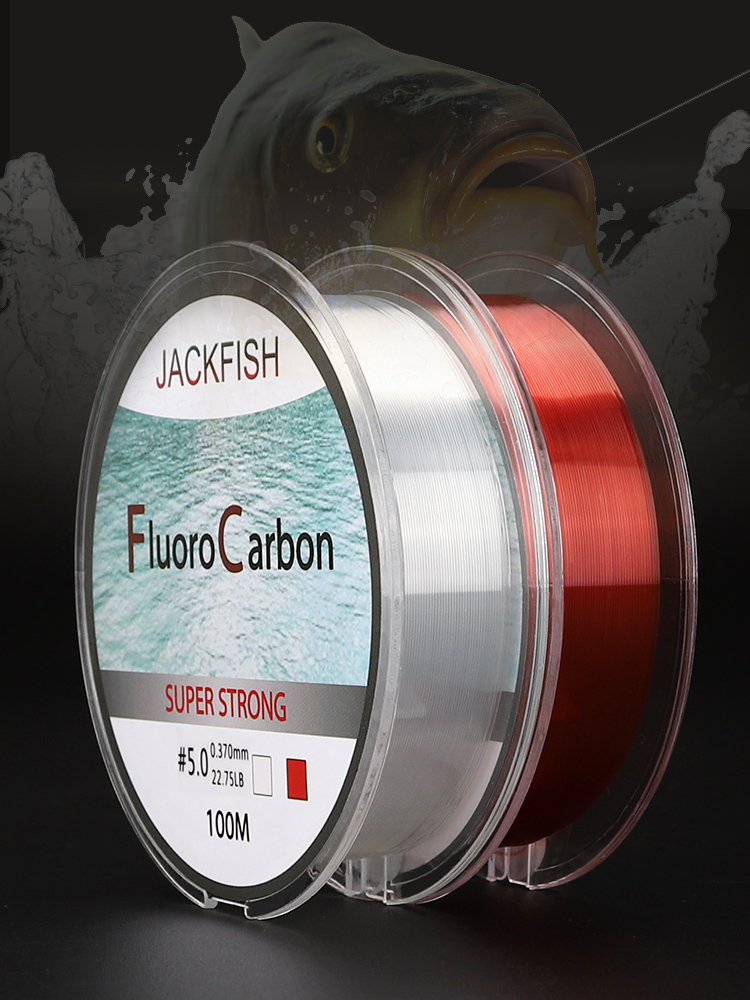 Leader-Line Fishing-Line Fluorocarbon JACKFISH Two-Colors Red/clear 100M Fly 4-32LB