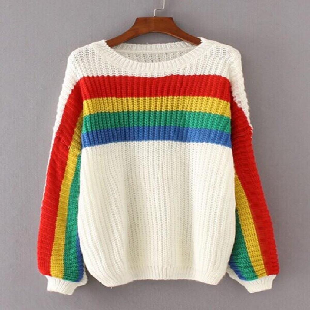 Pullover Women O-neck Rainbow Striped Winter Sweater Women Slim Long Sleeve Casual Knitwear Jersey Mujer Women Top