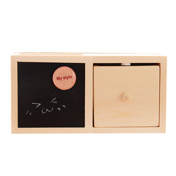 Wooden Pen Holder Single Layer Drawer Blackboard Containing Office School Rack Supply фото