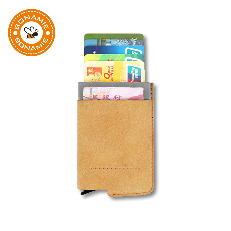 BONAMIE Credit Card Case Aluminum Wallet With Front Back Pouch Bank Card ID Holder RFID Mini Slim Wallet Automatic Pop Up