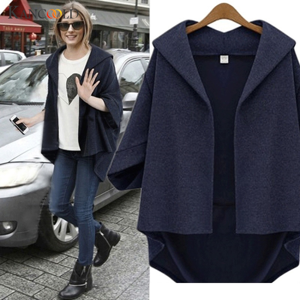 KANCOOLD  Women Clothes 2020 New Casual Women's Turn-Down Fashion big size woolen seven-point sleeve bat sleeve cardigan coat