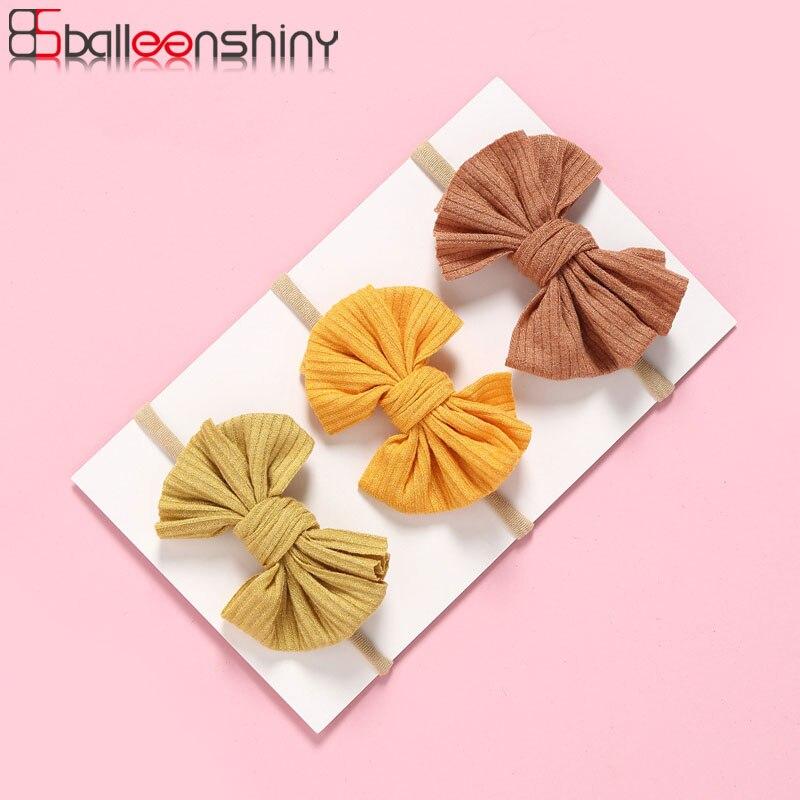 Balleenshiny New Stretch Nylon Baby Girls Headband Baby Hairband With Wide Bow Newborn Elastic Candy Color Headband Accessories