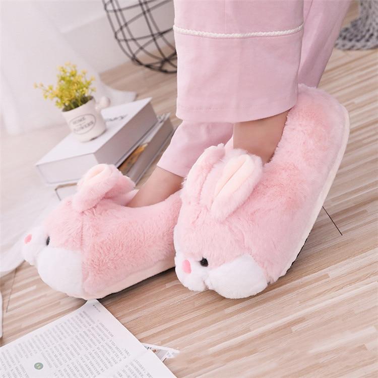 H068a814596e74afca178bad9d0079e53o Inverno dos desenhos animados das mulheres sapatos de algodão animal bonito rosa coelho chinelos de pelúcia mulher slides casa quente sapatos senhoras peludo chinelos