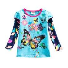 цены Baby Girls Tops Children's T-Shirt Long Sleeve Autumn Striped Children's T-Shirt Tops Embroidered T-Shirt Girls F4908