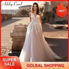 Ashley Carol plaża suknia ślubna 2020 Backless 3D kwiaty bez rękawów, dekolt v Boho line księżniczka Bride suknie Vestido De Novia
