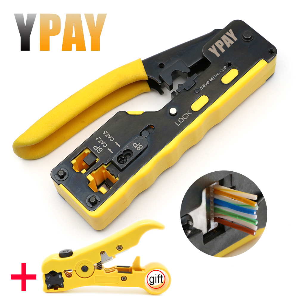 YPAY All In One EZ Rj45 Pliers Crimper Cat5 Cat6 Cat7 Network Tools Rj 45 Ethernet Cable Stripper Pressing Clamp Tongs Rg45 Lan