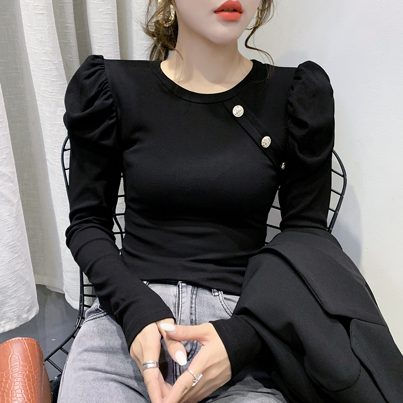 2020 New Spring Korean Clothes Solid Button T-shirt Women Tops Ropa Mujer Puff Sleeve Bottoming Shirt Ropa Mujer Tees T02812