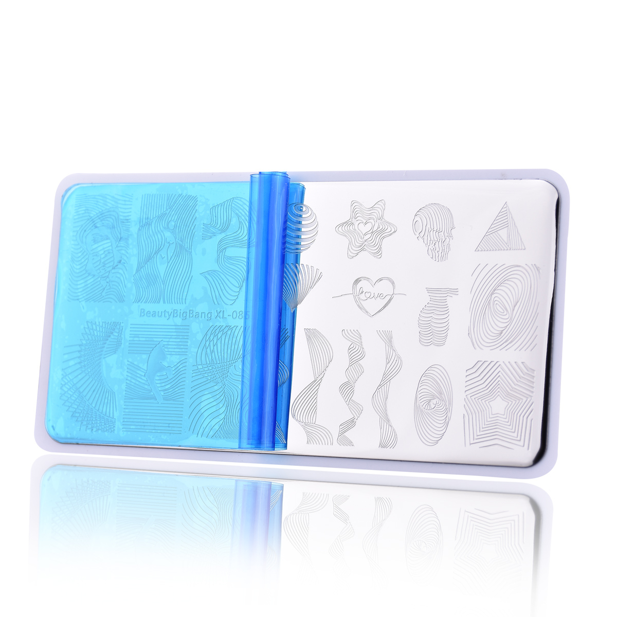 Image 3 - Beautybigbang Stamping Plates Nail Art Accessories Striped Lines Wave Heart Geometry Image Nails Stamping Print Template XL 085-in Nail Art Templates from Beauty & Health