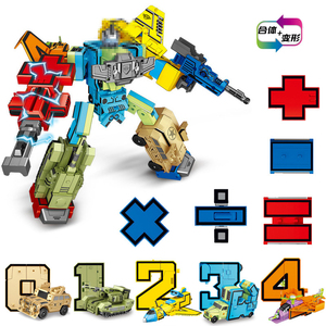 Image 3 - MINI 26 pièces lettres et 0 à 9 chiffres Robot déformation Alphabet Transformations assemblé cadeau danniversaire enfants jouets éducatifs