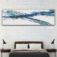 Yuke Art Nordic Abstract Color  Blue Golden Canvas Painting Poster and Print Decor Wall Pictures for Living Room Bedroom