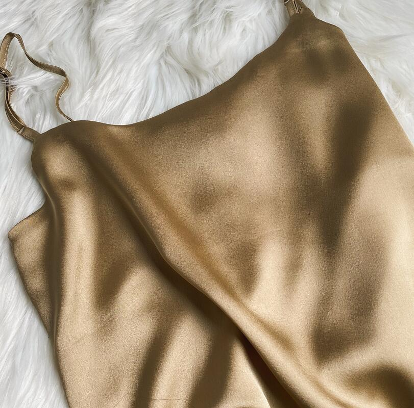 2020 Summer Women Sexy Satin Camis Vintage Luxury Imitation Silk Shiny Camisole Solid Color Tank Tops