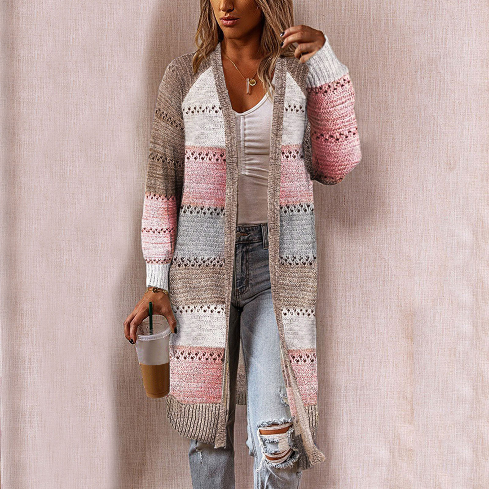 Women Cardigan Comfy Stylish Stitching Long Sleeve Striped Patchwork Sweater Female Casual Long Cardigan Autumn Winter Tops