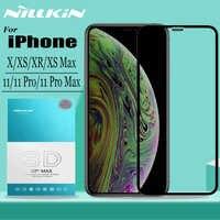 Nillkin para iPhone 11 Pro Max X Xr Xs Max Protector de pantalla de vidrio templado 3D cubierta completa de vidrio de seguridad para iPhone 11 Pro Max película
