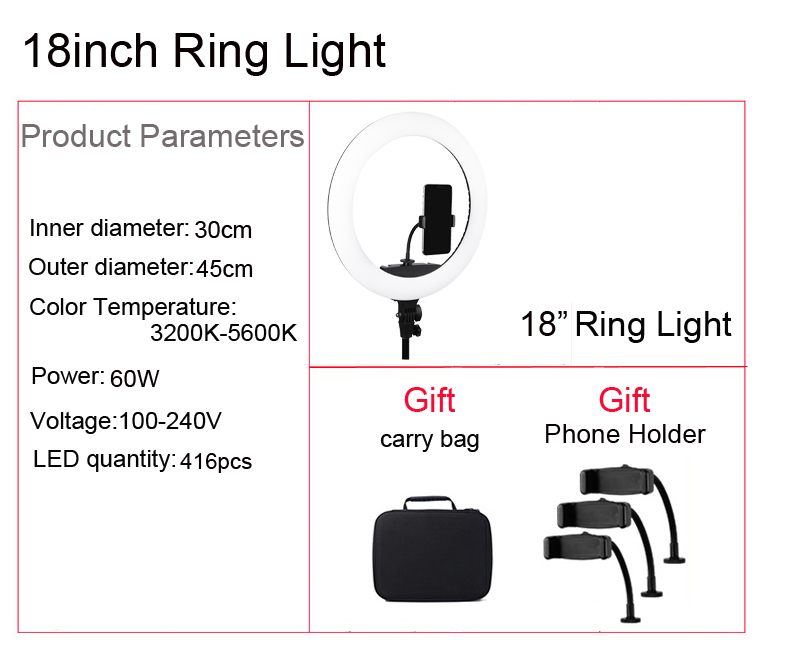 H068aed492ef847c6915e1d3f5fa0432fd LED Ring Light 10 inch 18 inch 22 inch Dimmable Selfie Ring Lamp with Tripod Photography Lighting for Phone Makeup Youtube Video
