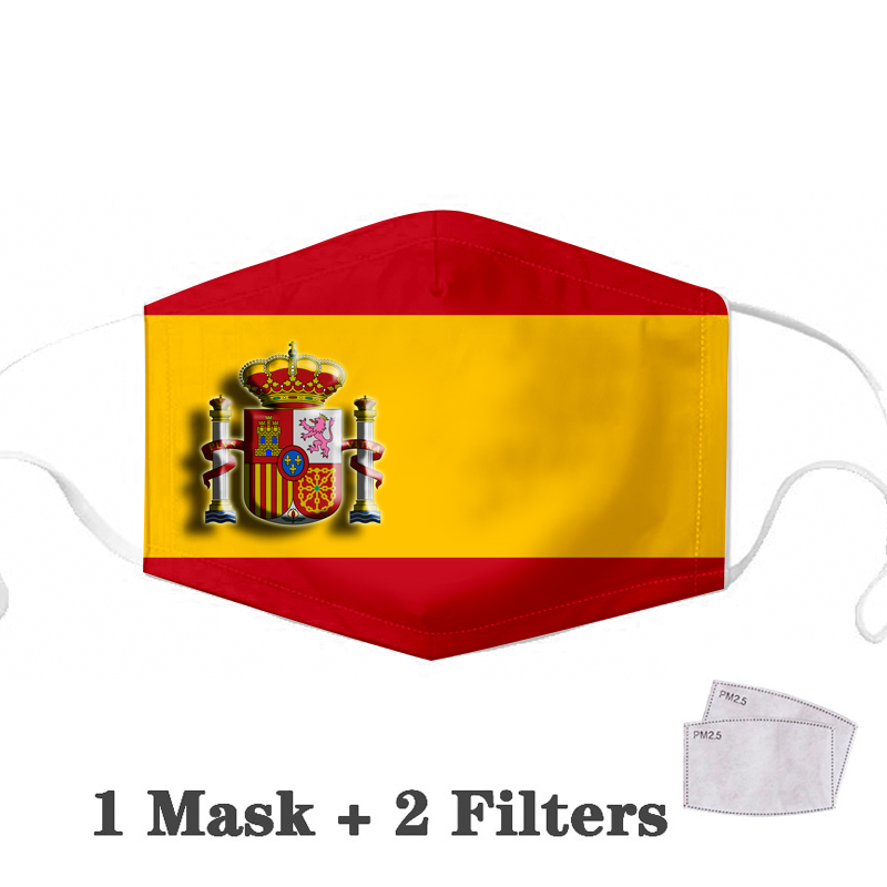Mask Spanish Flag Printing Cotton Pm2.5 Carbon Filter Insert Masks Rise From The Ashes Pattern Face Mask Anti-dust Reusable Mask