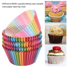 100 pçs/lote muffin cupcake cozimento copos cupcake forros bandeja de bolo de papel molde ferramentas de decoração do bolo