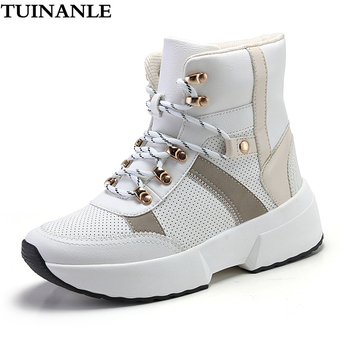 TUINANLE Ankle Boots for Women 2020 Winter Warm Snow Boots Thick Bottom Platform Booties Round Toe Combat Boots for Women Botas