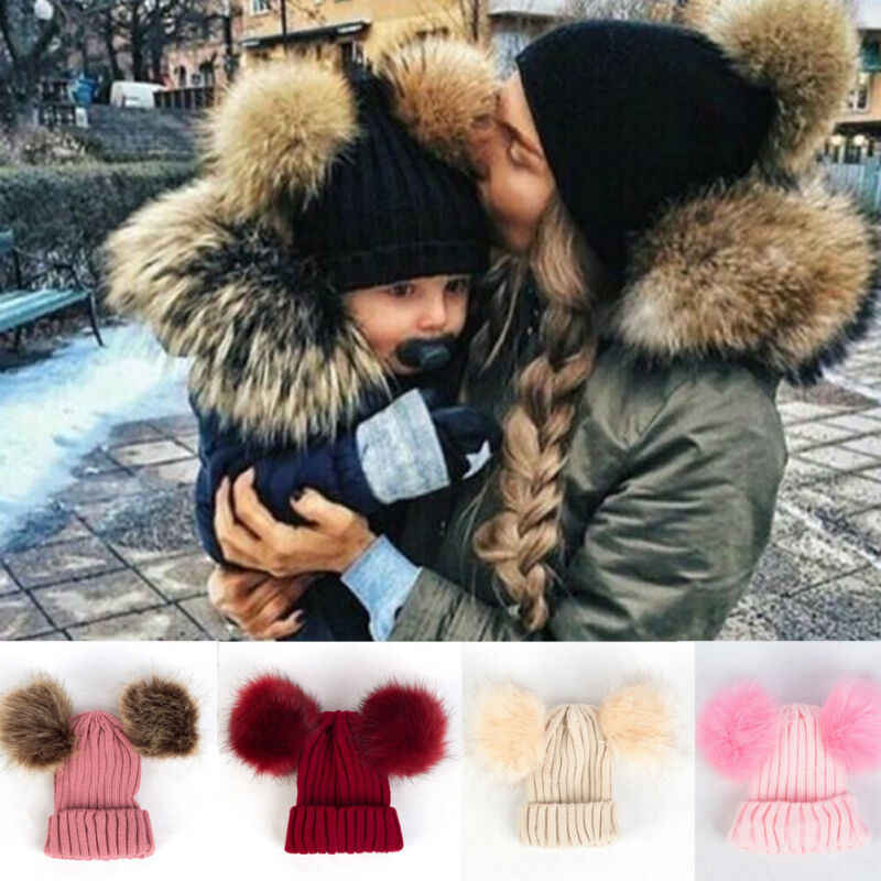 2020 Baby Stuff Accessories Toddler Kids Girl Boy Baby Infant Winter Warm Crochet Knit Hat Fur Balls Beanie Cap