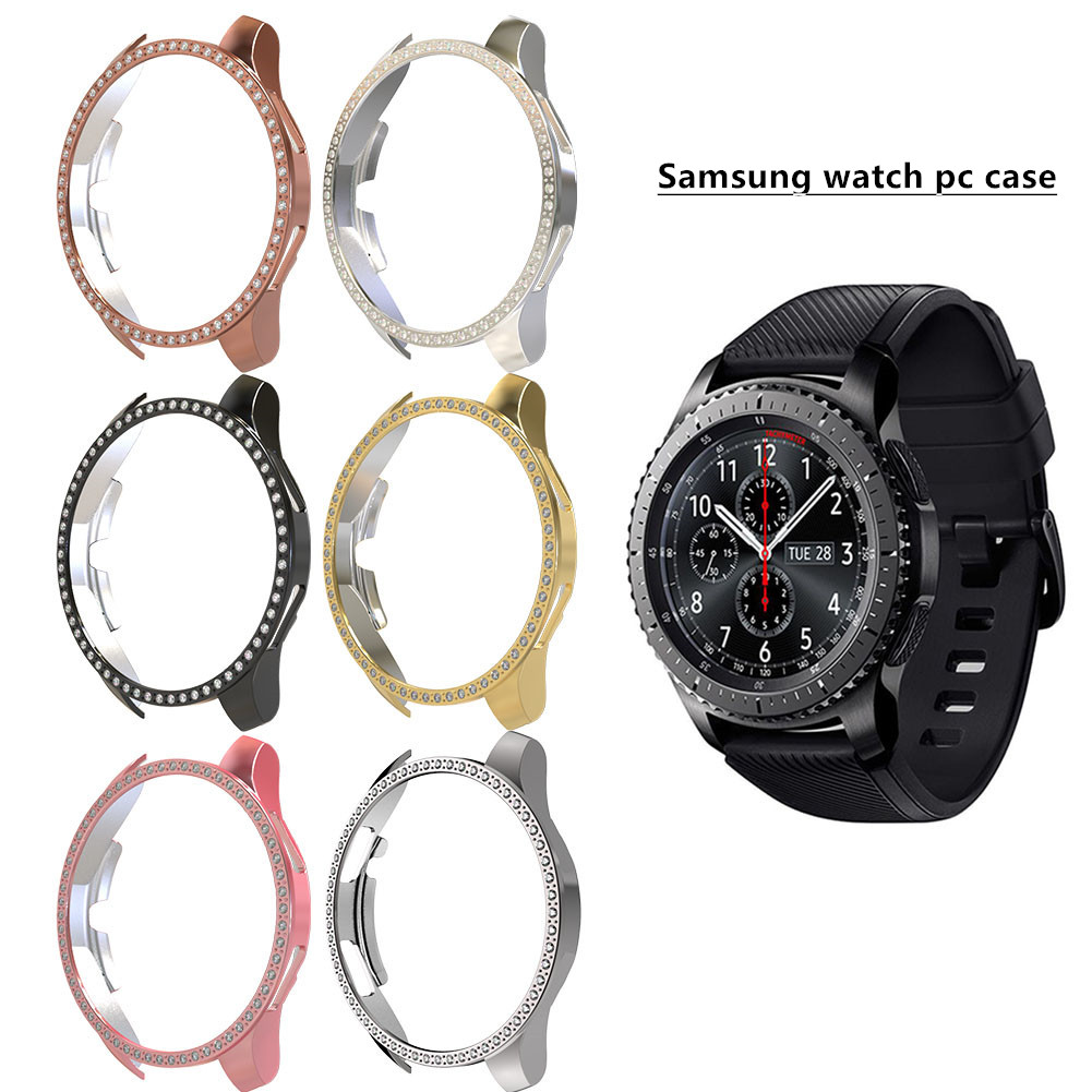 Case for samsung galaxy watch 46mm 42mm active PC diamond Protector cover bling bumper for gear S3 smart watch cover accessories