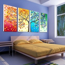 Unframe Wall Art Colourful Leaf Trees Canvas Painting Wall Art Spray Wall Painting Home Decor Canvas Printings For Living Room canvas painting poster colourful leaf trees 4 piece painting wall art modular pictures for home decor wall art picture painting