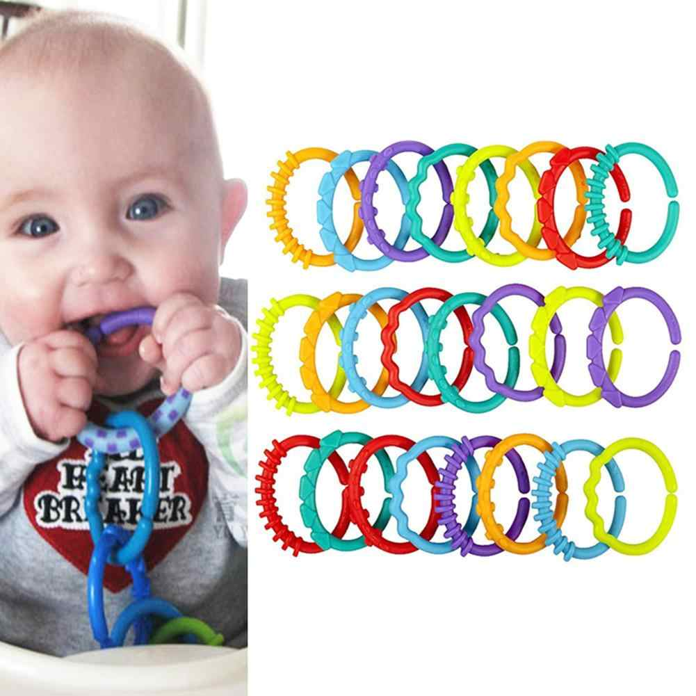 24Pcs Baby Teether Colorful Rainbow Circle Rings Crib Stroller Hanging Decor Toy