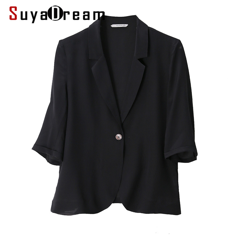 SuyaDream Women Silk Blazers 100%Silk Single Button 3/4 Sleeved Solid Black Office Lady Blazers 2020 Spring Summer New