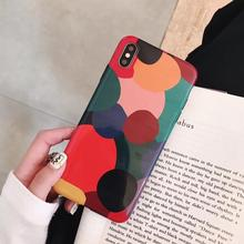 Ins retro color graphic Cases  For Apple iPhone XR X XS Max 6 6S 7 8 Plus Girl Cute Fashion Phone Case NEW