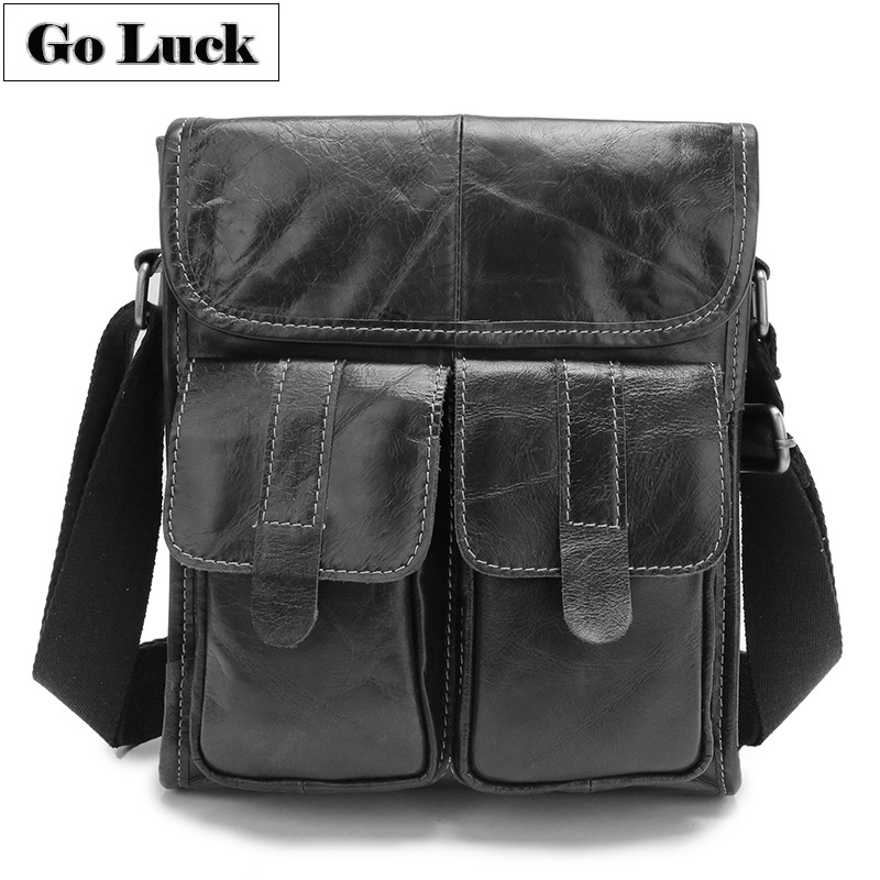 GO-LUCK Brand Genuine Leather Casual Business Shoulder Bag Men's Messenger Bags Men Crossbody Ipad Pack Hot Sale