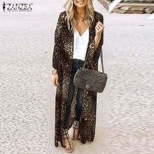ZANZEA Sexy Leopard Kimono Cape Böhmischen Gedruckt Strickjacken frauen Öffnen Stich Blusen 2021 Weibliche Strand Cover Up Dünne Mäntel 5XL
