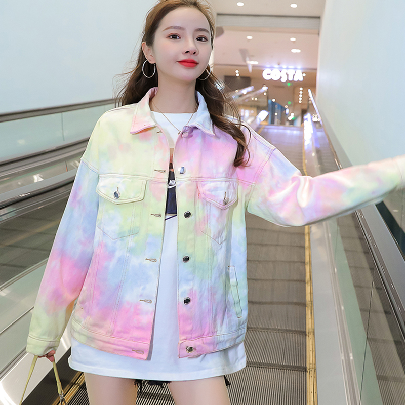2021 frühling Herbst Denim Jacke Frauen Regenbogen Farbe jeans Jacke Plus Größe Basic Mäntel Oberbekleidung chaqueta mujer