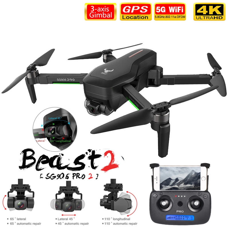 2020 NWE SG906 SG906 Pro 2 drone 4k HD mechanical 3-Axis gimbal camera 5G wifi gps system supports TF card drones distance 1 2km