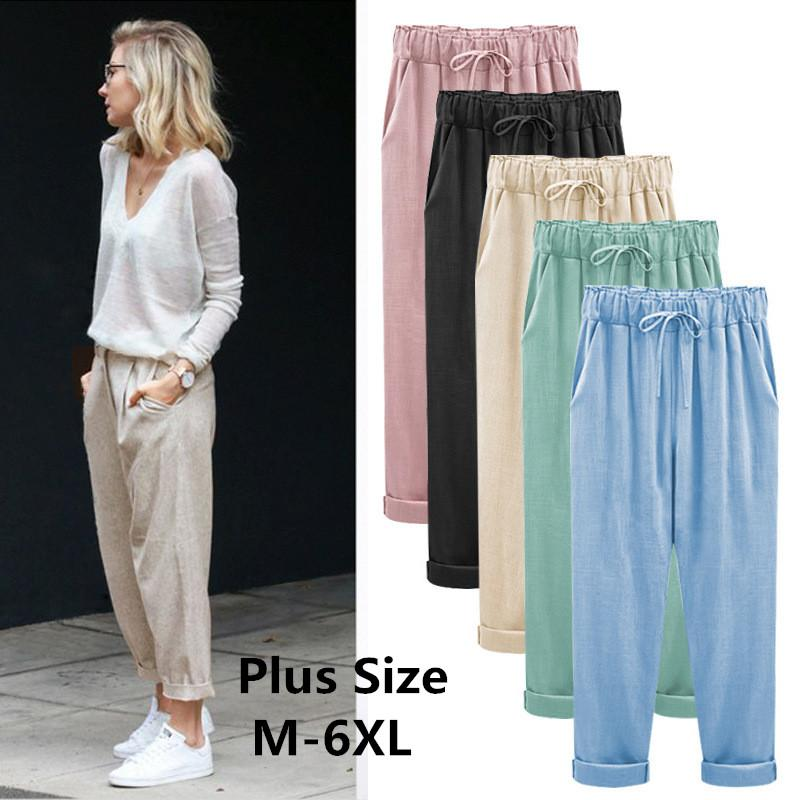 Spring/summer 2019 Loose Cotton And Linen Broad Leg Harem Pants Women's Casual Cargo Pants In A Large Confectionery Color