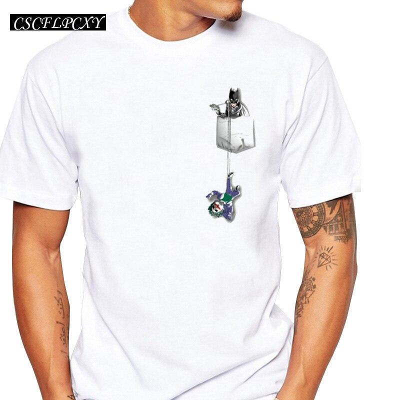 2019 Newest Batman Clown Design Men T-shirt Summer Fashion Chaos In A Pocket Printed Tee Shirts Short Sleeve Hipster Tops