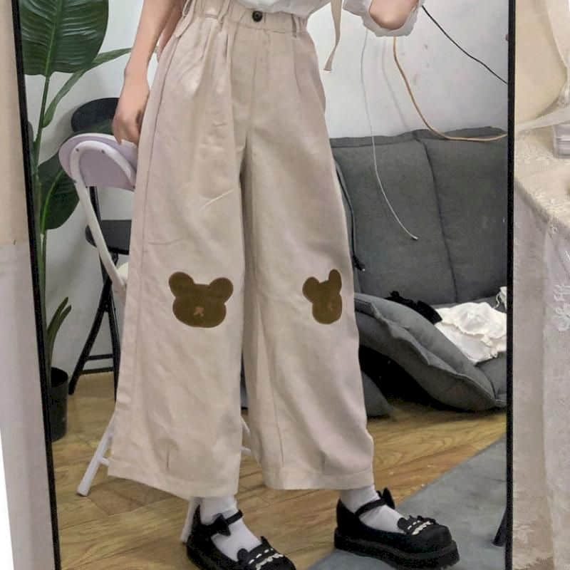 Pantalones De Pierna Ancha Con Oso Para Mujer Pantalón Coreano De Estilo Universitario Salvaje Suelto Informal Nueve Puntos Pantalones Y Pantalones Capri Aliexpress