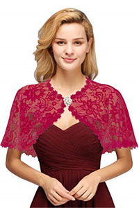 Image 3 - Elegant Bridal Jackets and Shrugs Evening Party Lace Wraps Bolero with Brooch For Women Coat