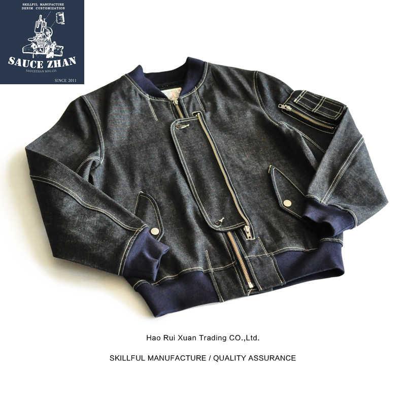 SauceZhan MA1 ינס מעיל קשת ג 'ינס מעיל ג' ינס כותנה בציר מעיל Selvedge גלם מעיל ג 'ינס מעיל גברים