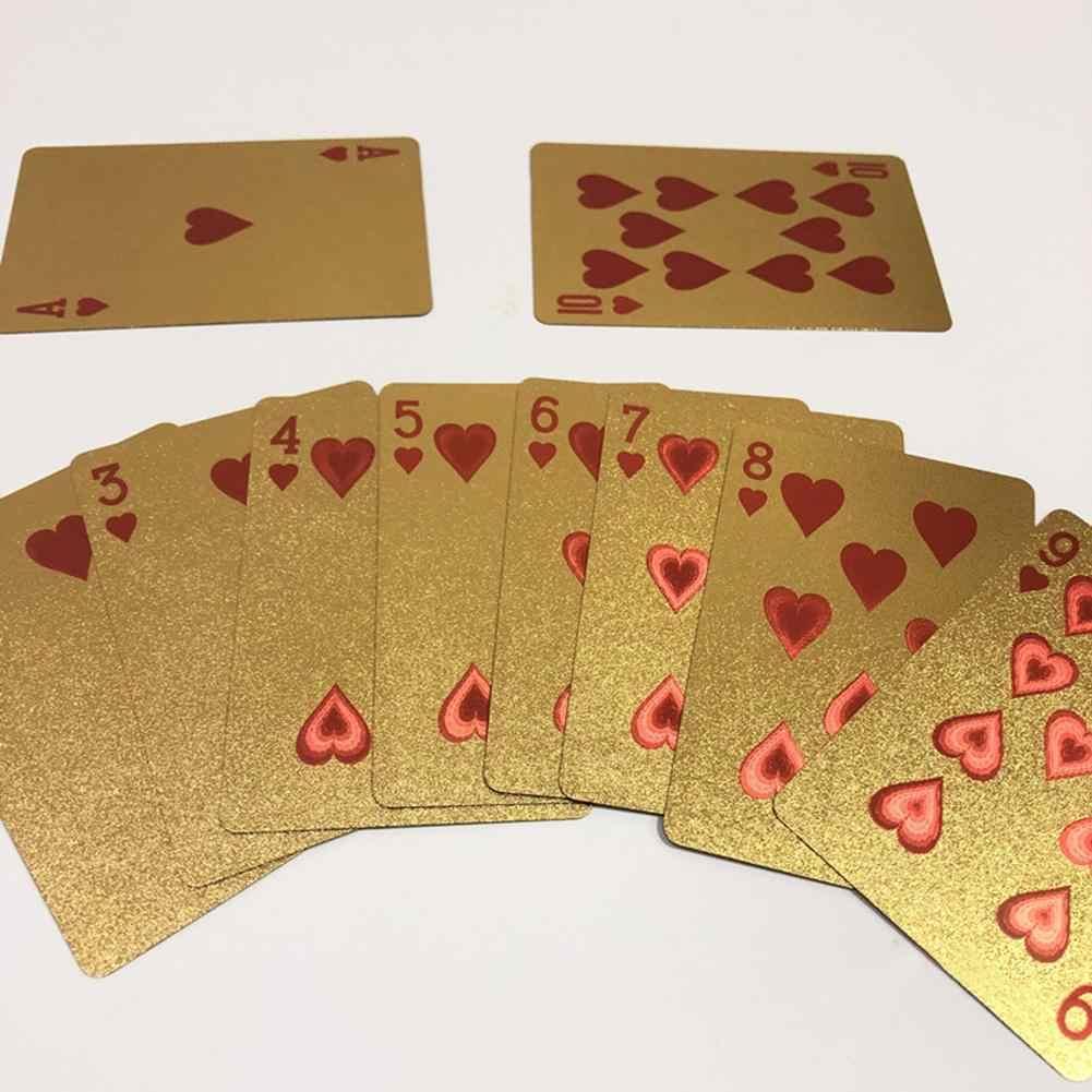 24K Kreative Goldfolie Poker Kunststoff Wasserdicht Schwarz Poker Kunststoff Magie Karte Wasserdichte Karten Magie