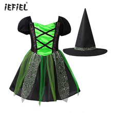 Outfit Costumes Short-Sleeves Dress Tutu Glittering Witch Cosplay Halloween Girls Kids