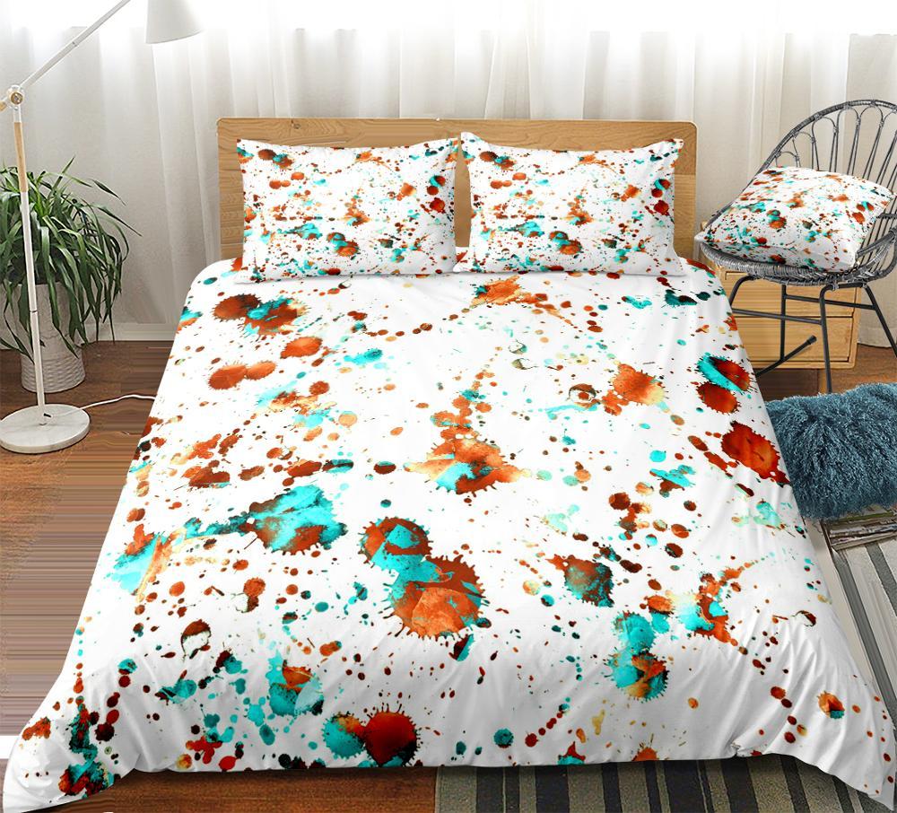 Набор постельного белья в стиле бохо, с акварелью, красными, синими чернилами