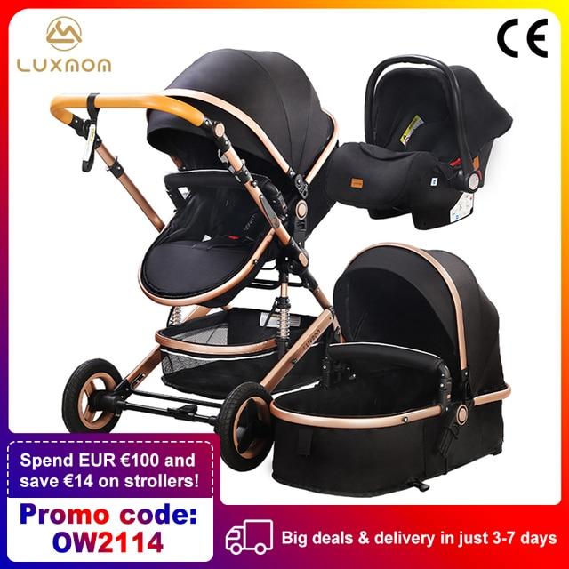 Luxmom carrinho de bebê 3 em 1 com assento de carro materiais ambientalmente amigáveis absorção de choque de quatro rodas enviar de espanha 1