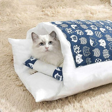 Pet Cats Sleeping Bag Soft Indoor Pet Bed Sofa 2 in 1 Pet Nest Warm Cozy Covered Bed Snuggle Sack for Cats Puppy