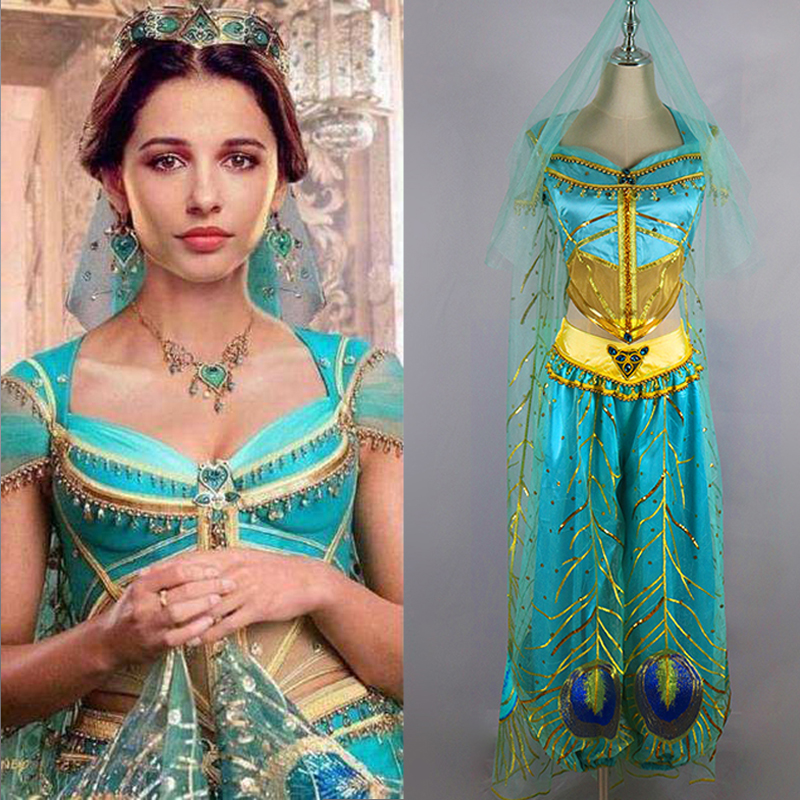 Aladdin Magic Lamp Jasmine Princess Dress Cosplay Costume Adult Women Halloween Costume Embroidery Sexy Dance Dress Custom Made